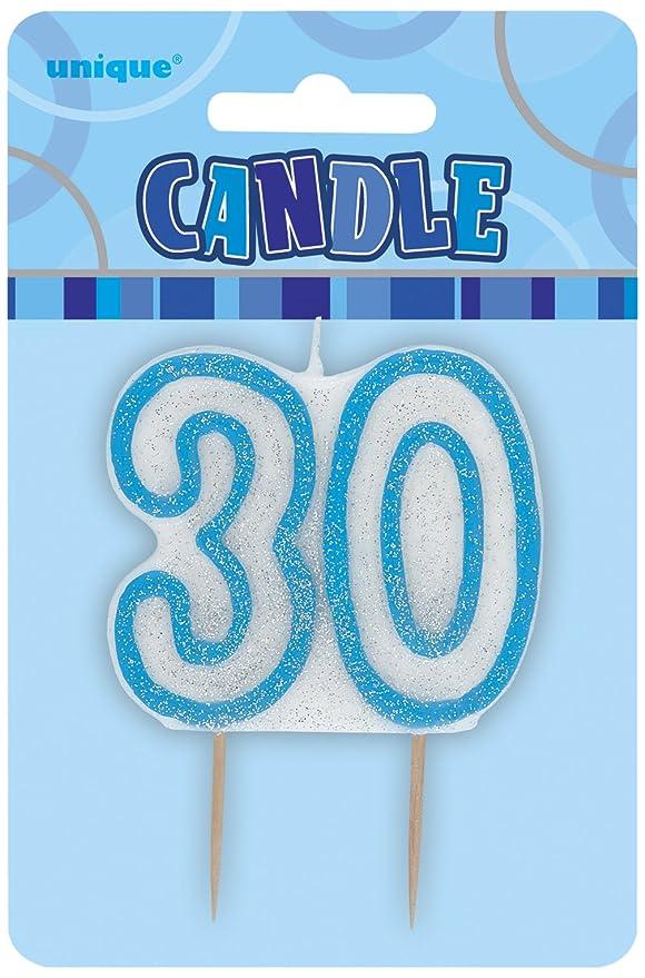Unique Party- Vela de 30 cumpleaños, Color azul brillante (34413)