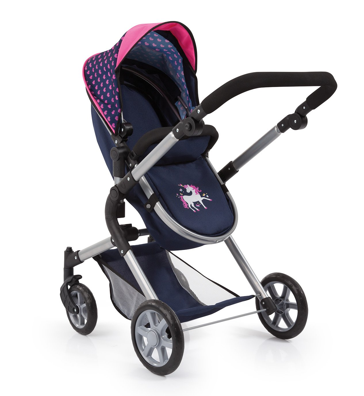 Bayer Design 18154AA City Neo Dolls Pram with Changing Bag, Blue/Pink by Bayer (Image #2)