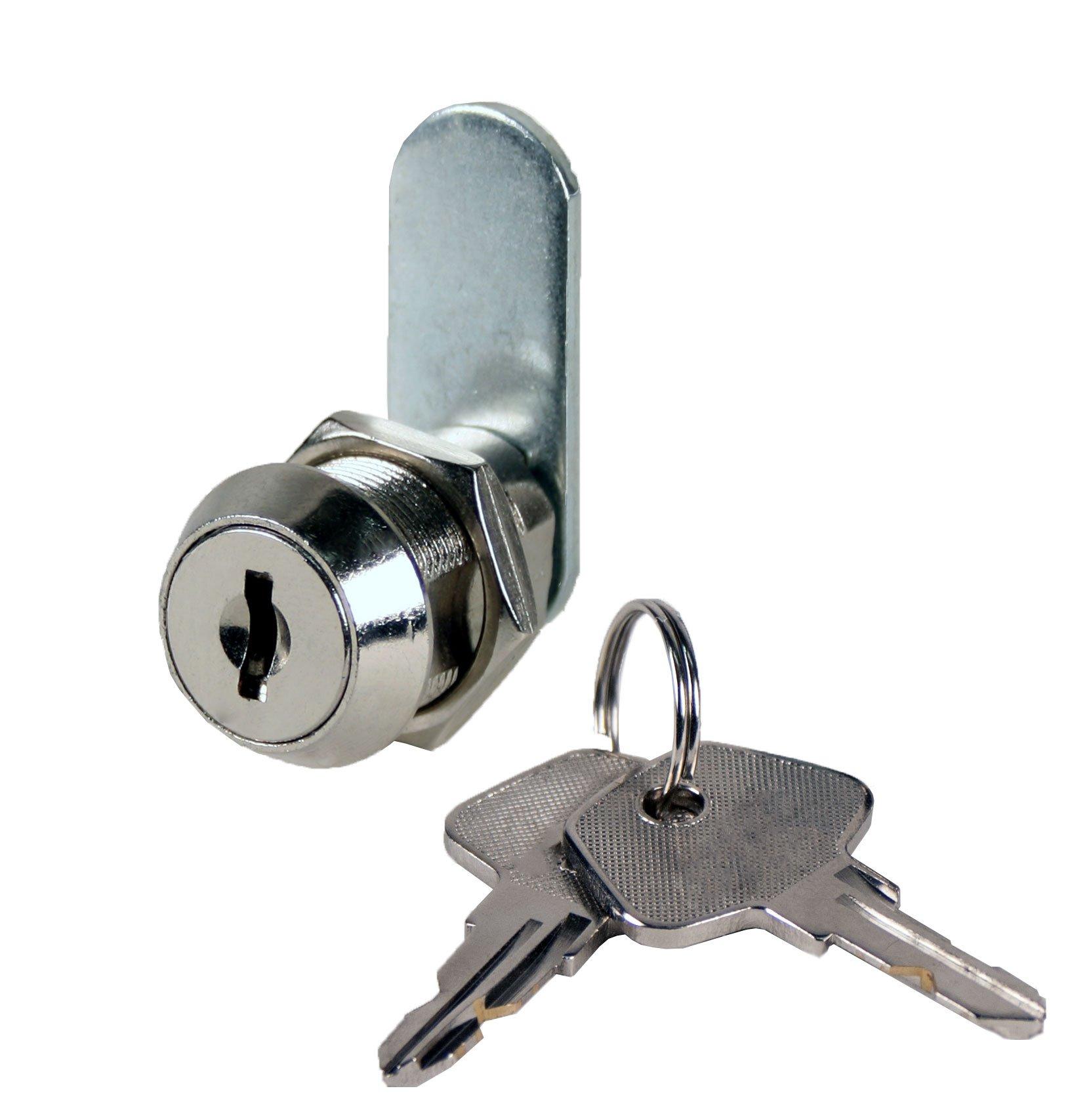 FJM Security 3403AM-KA High Security Disc Tumbler Cam Lock with 7/8'' Cylinder and Chrome Finish, Keyed Alike