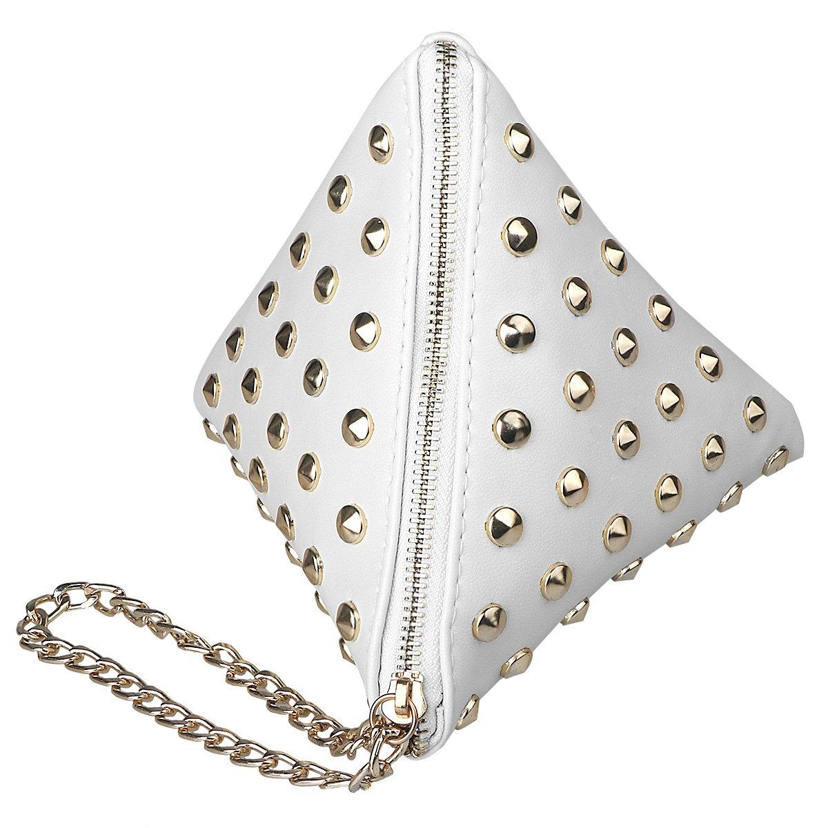 xhorizon TM SR Women PU Leather Rivet Studded Triangle Purse Wristlet Clutch Wallet Handbag