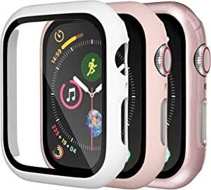 Charlam Hard Case Compatible with Apple Watch 40mm iWatch SE Series 6 5 4 with Screen Protector, Ultra Thin Guard Bumper Full Coverage Scratch Resistant Protective Cover, Pink White Rose Pink, 3 Pack