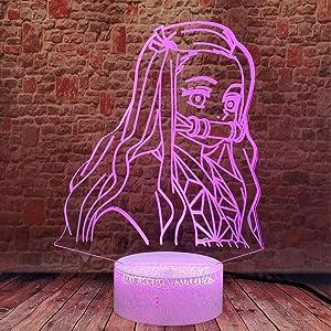 Demon Slayer Kamado Nezuko 3D Illusion Night Light LED Anime Lamp Colorful Remote Control Night Light Home Décor