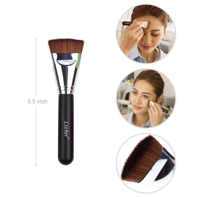 Pincel de maquillaje, Curve Foundation Brush, Cepillo de dientes ovalada plana Contour Maquillaje Cepillo, cepillo cepillo de lavado guante Scrubber Board, ...