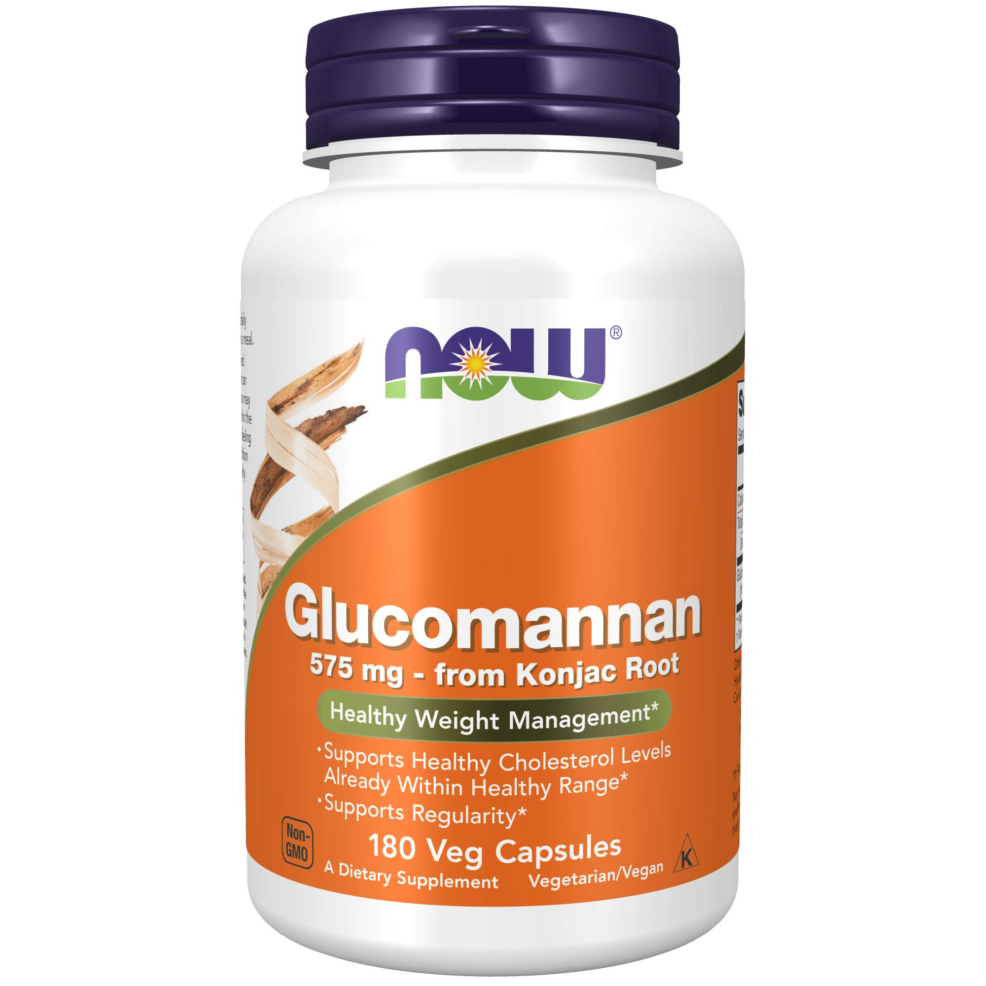 NOW Supplements, Glucomannan (Amorphophallus konjac)575 mg, 180 Count Capsules