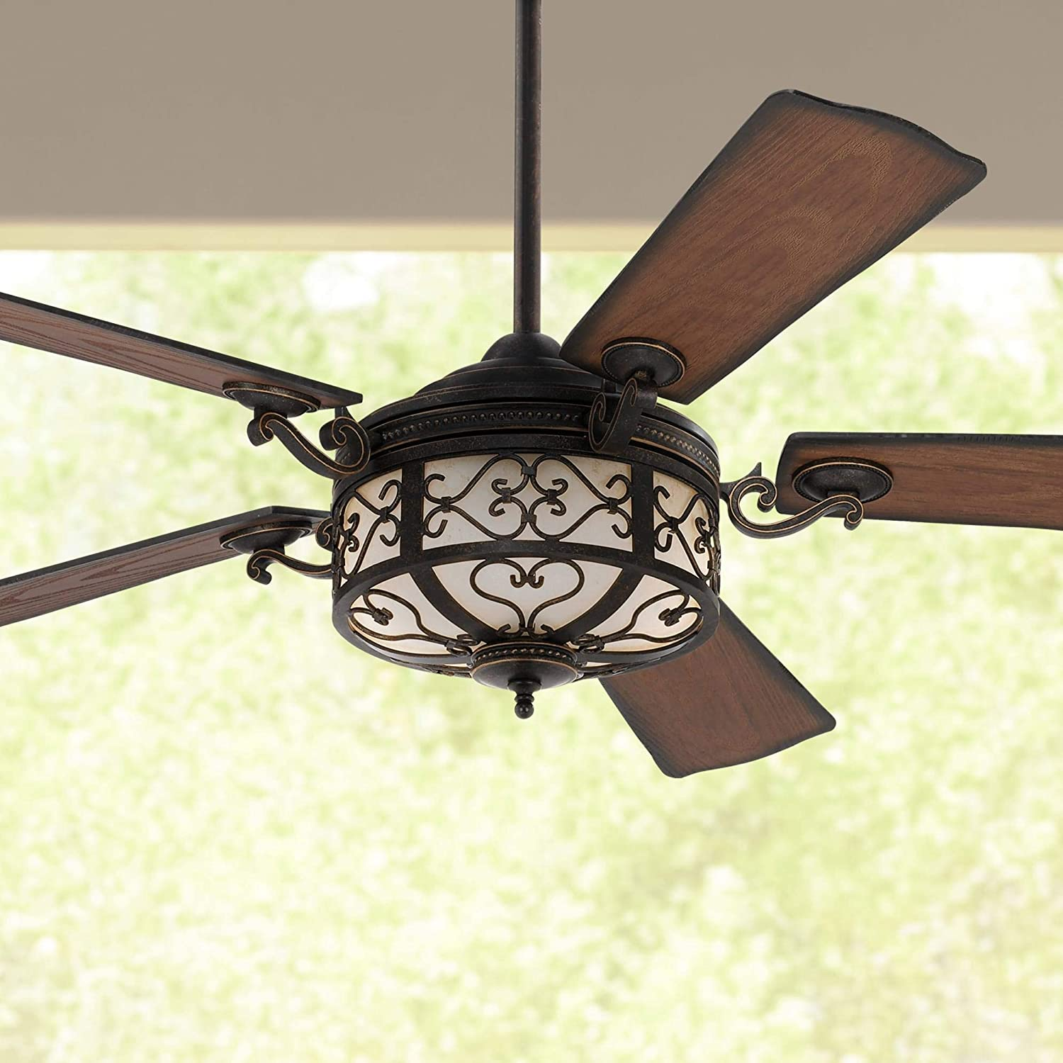 """54"""" Hermitage Rustic Outdoor Ceiling Fan with Light LED Dimmable Remote Control Golden Forged Reversible Distressed Walnut Blades Damp Rated for Patio Porch - Casa Vieja"""