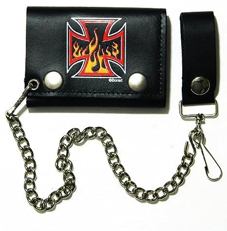 adb838d1bc9d Amazon.com: Independent Flames Biker Chain Leather Wallet Tri Fold ...