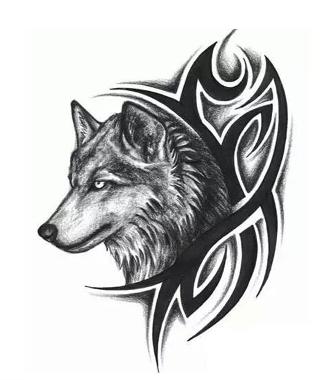 Temporary tattoo for girls men women 3d wolf sticker size 19x12cm 1pc
