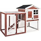 Merax Auburn and White Rabbit Bunny Hutch House with Black Linoleum Roof