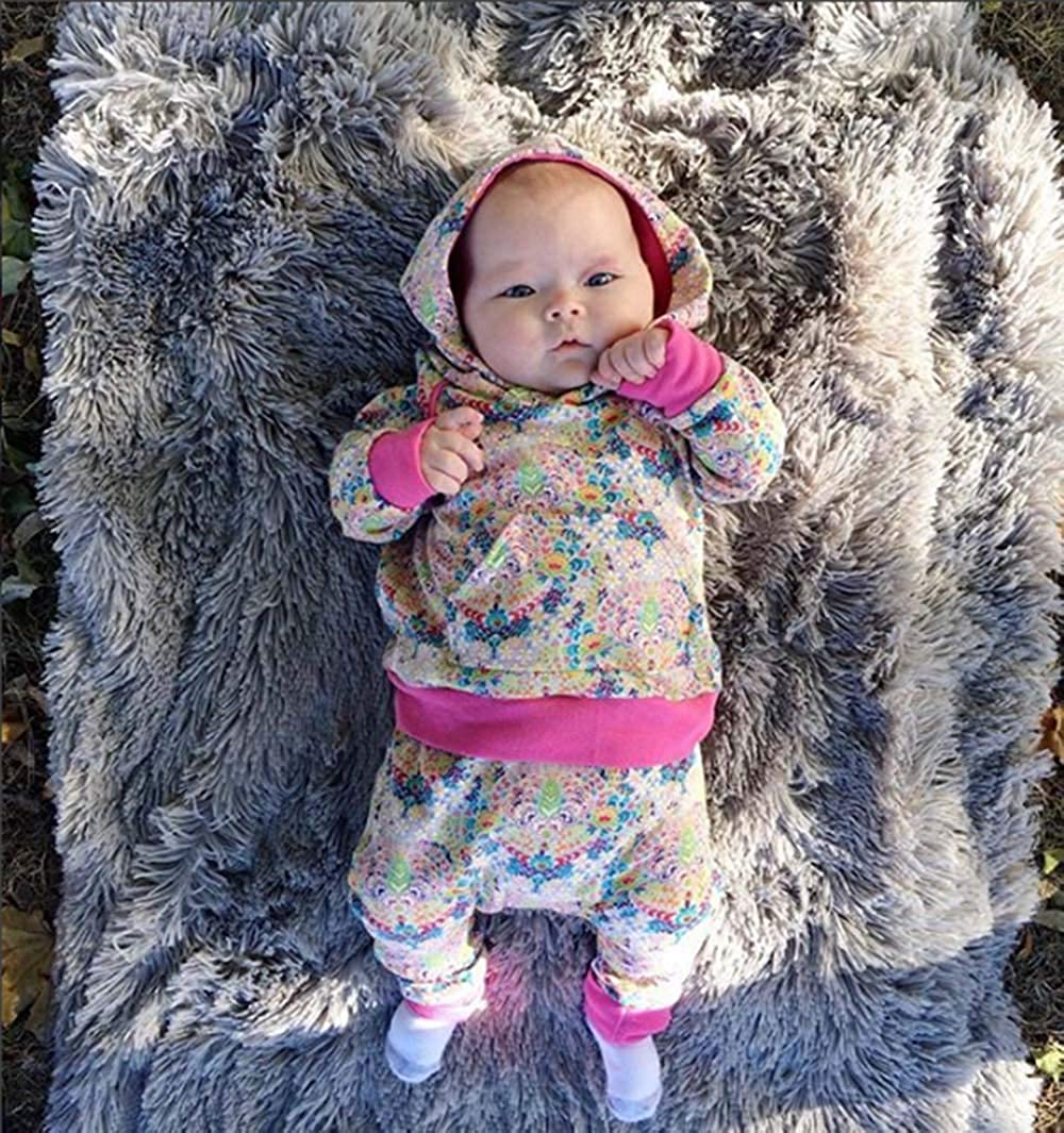 2PCS Newborn Toddler Baby Girl Floral Hooded Sweatshirt Pants Clothes Outfit Set