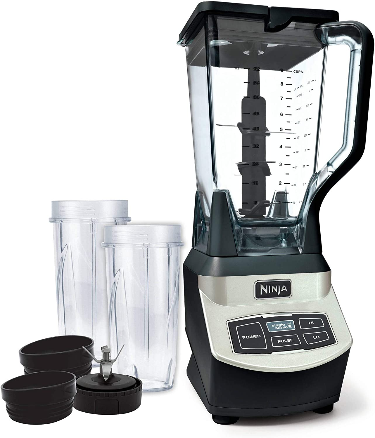Ninja Professional Blender with Single Serve Cups Powerful 1000 Watts Motor Base XL 72oz Capacity Pitcher BL660WM (Renewed)