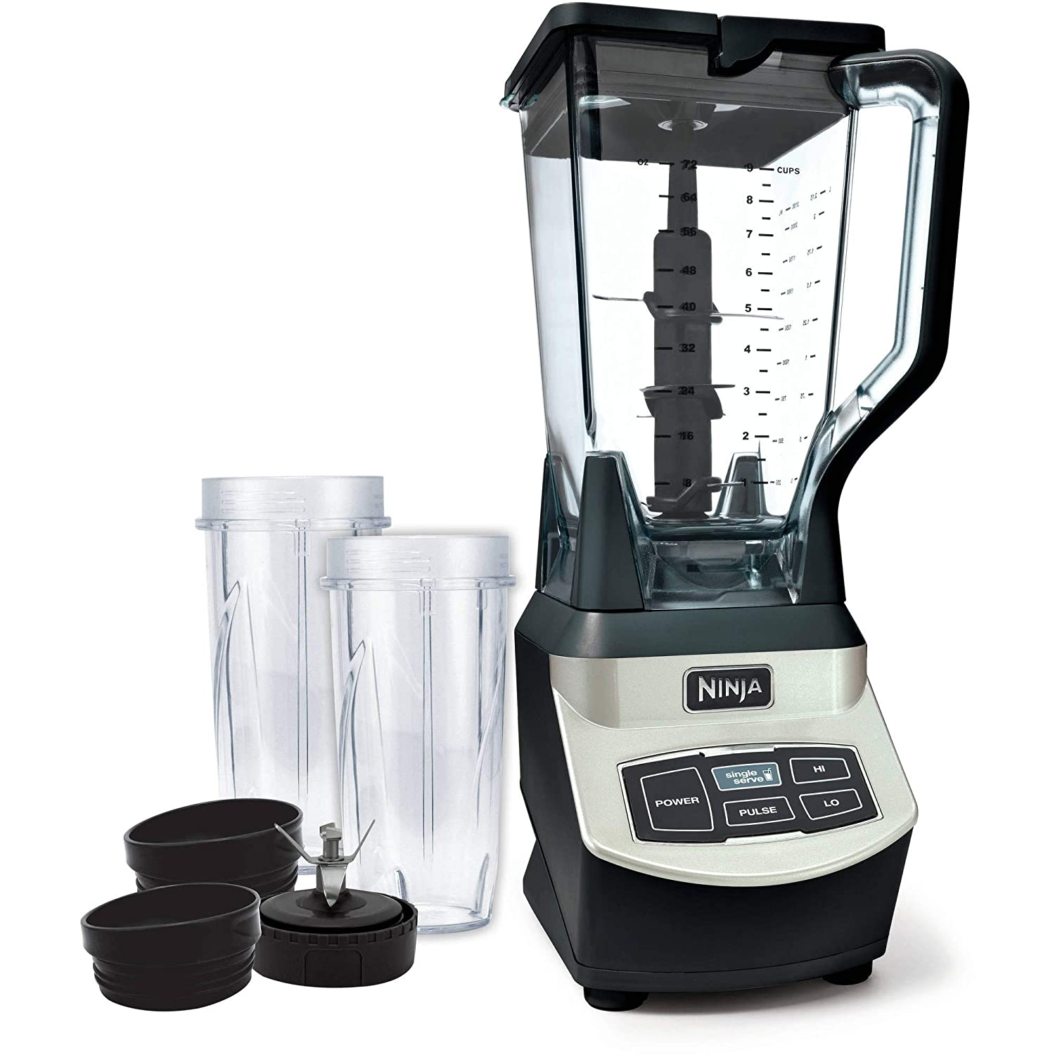 Ninja Professional Blender with Single Serve Cups with an Impressive 1000 Watts Motor Base and XL 72ox Capacity Pitcher BL660WM Renewed Renewed