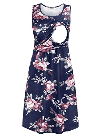 Ouges Womens Sleeveless Summer Floral Maternity Dresses Nursing Breastfeeding Women's Clothing Dresses