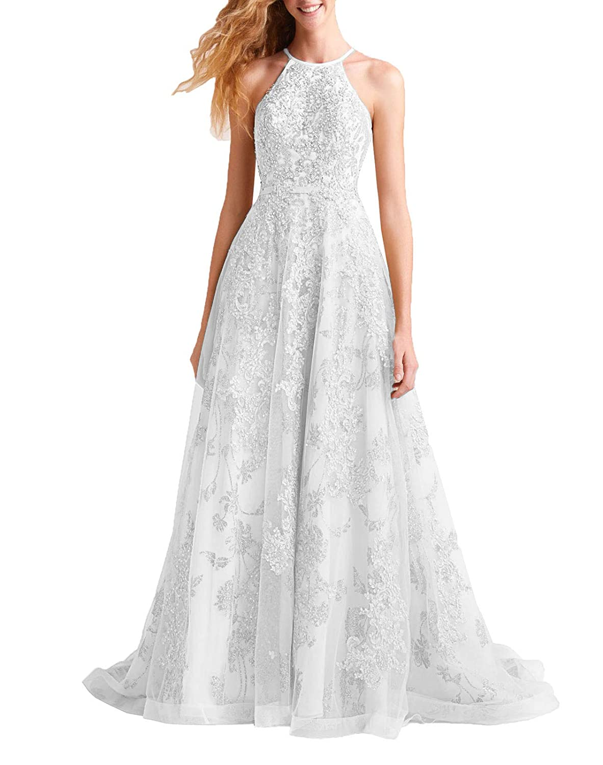 White Wanshaqin Women's Aline Floral Beaded Prom Formal Dress Evening Cocktail Dress Bridesmaid Gown for Wedding Party