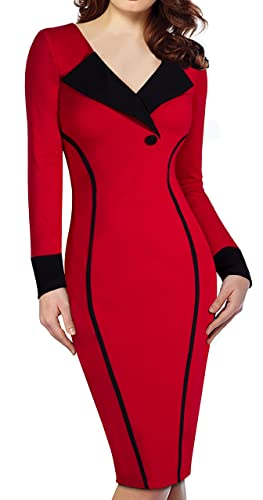HOMEYEE Women's Elegant Patchwork Business V-Neck Pencil Party Dress B355