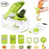 Mandolin Slicer PREUP - Vegetable Fruit Slicer Cutter, 11 in 1 Multipurpose Food Slicer with 7 pcs Blades Combination of Wire and Slice Turning Cutter Slicer Spiral Processing Device