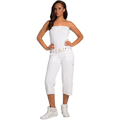 a89aba2929 SweetVibes Junior Women Stretch Terry Cloth Tube Jumpsuit Belt - White -   Amazon.co.uk  Clothing