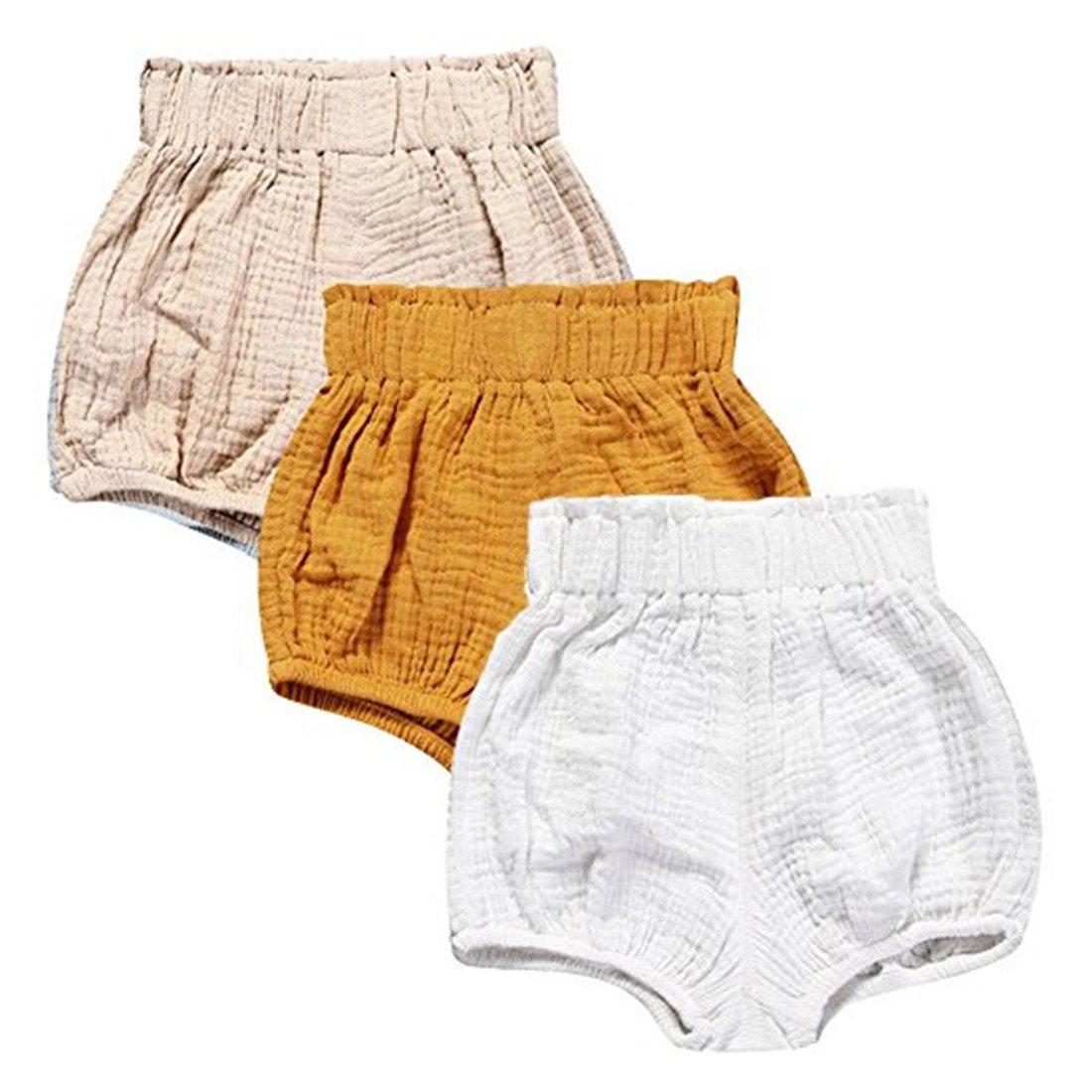 3 Pack of Kleinkind Baby M/ädchen Jungen Cotton Linen Sommer Blend Cute Bloomer Shorts