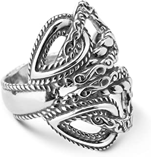 product image for Carolyn Pollack Sterling Silver Rope Filigree Loop Ring Size 05 to 10