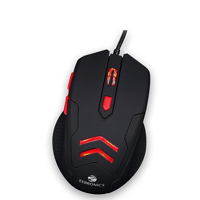 Renewed  Zebronics Zeb Feather Optical USB Gaming Mouse with Pad Mice