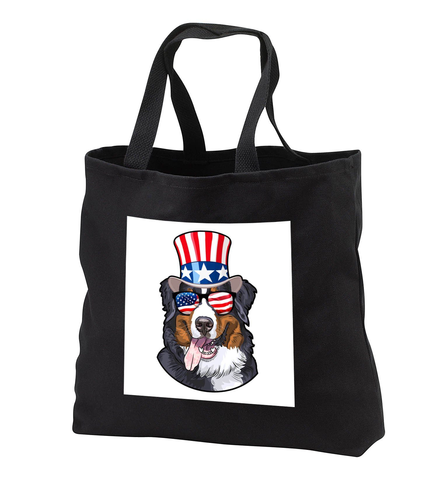 Patriotic American Dogs - Burmese Mountain Dog With American Flag Sunglasses and Top hat - Tote Bags - Black Tote Bag 14w x 14h x 3d (tb_282711_1)