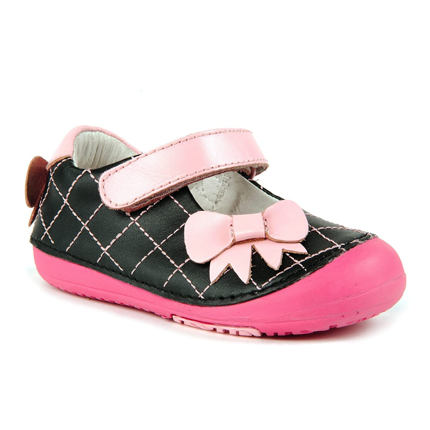 Momo Baby Girls First Walker/Toddler Quilted Bow Mary Jane Leather Shoes