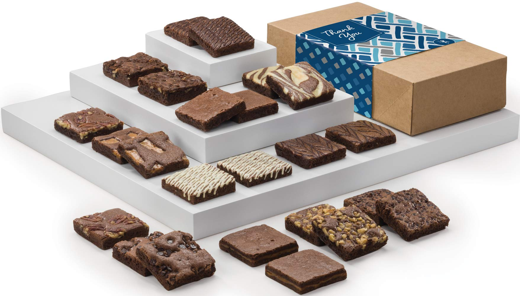 Fairytale Brownies Thank You Double Dozen Gourmet Chocolate Food Gift Basket - 3 Inch Square Full-Size Brownies - 24 Pieces - Item LY124