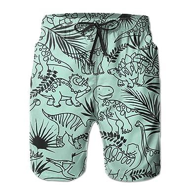 2fbc961c29 ICE65SALT Men's Cute Dinosaur Tropical Forest Plant Swim Trunks Polyester  Casual Beach Cargo Shorts