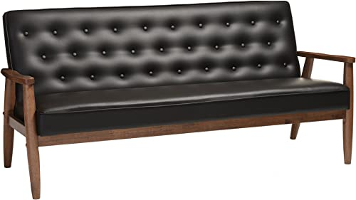 Baxton Studio Sorrento Mid-Century Retro Modern Faux Leather Upholstered Wooden 3-Seater Sofa