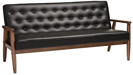 Baxton Studio Sorrento Mid Century Retro Modern Faux Leather Upholstered  Wooden 3 Seater Sofa
