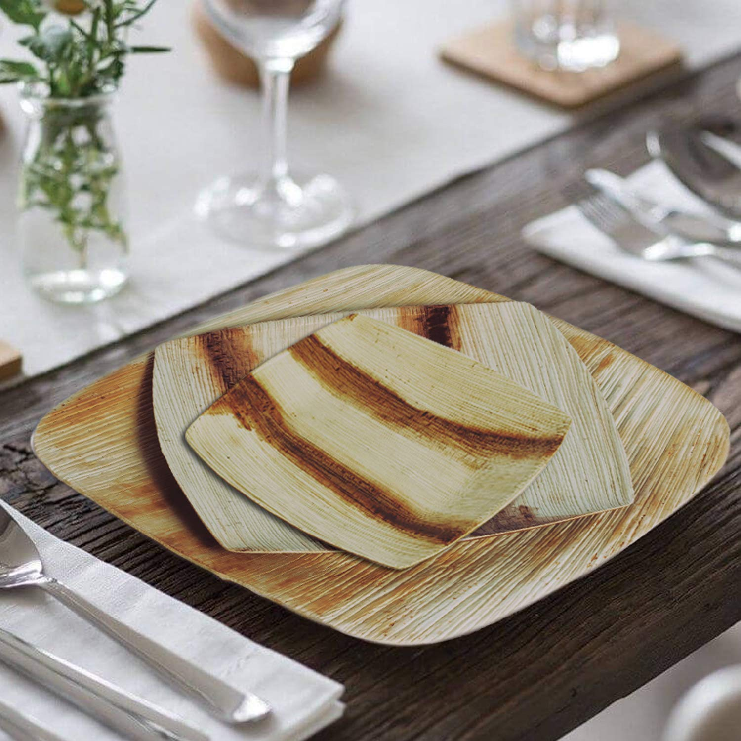 8'' Quadrato Square Disposable Palm Leaf Plates by Scrafts - Compostable,Biodegradable Heavy Duty Dinner Party Plate - Comparable to Bamboo Wood - Elegant Plant Based Dishware: (50 pcs Pack) by Scrafts (Image #3)