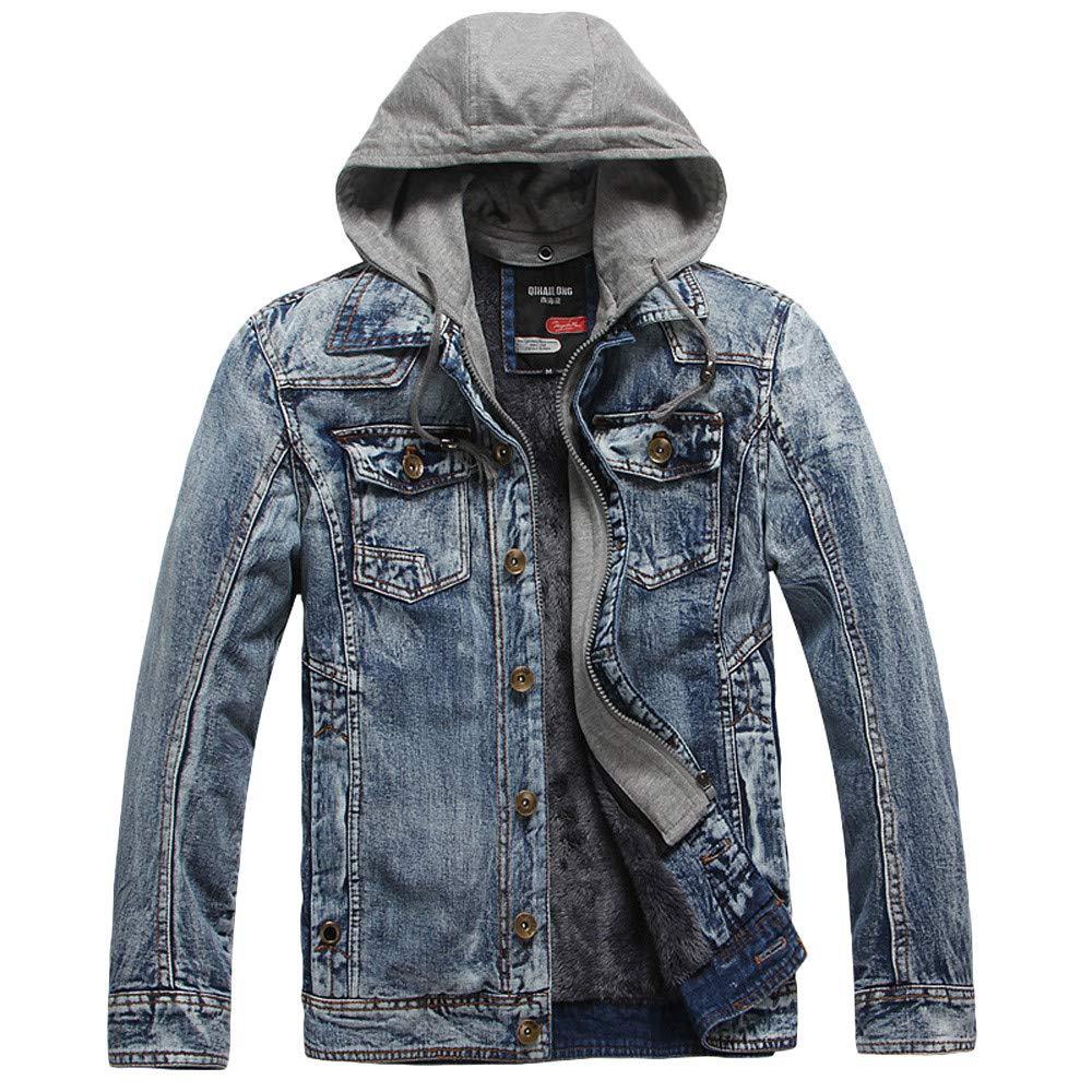 Big Sale! Daoroka Mens Hoodies Denim Jacket Wind Autumn Winter Wash Distressed Thick Warm Coat Long Sleeve Zipper Pocket Coat Fashion Casual Outwear
