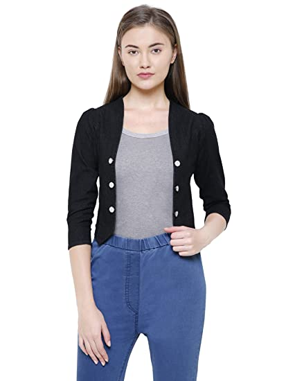22f819fc0da Westa Clothing Denim Shrugs for Women Crop Denim Jacket  Amazon.in ...