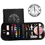 Mrs Stitch Sewing Kit Compact Zippered Hiqh Quality Filled with Sewing essentials, - Trendy Perfect for Beginners, Travel, Mending, Fashion Emergencies, Everything Neatly Packaged Ready to Go Perfect Gift for Grandma, Mom, Brides, Girls