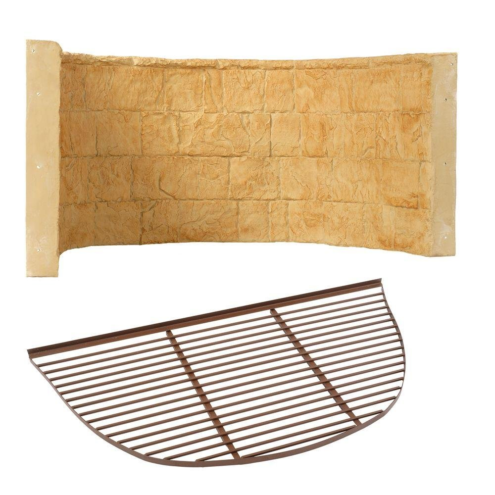 66 in. x 39 in. x 36 in. Tan Premier Composite Window Well with Metal Bar Grate