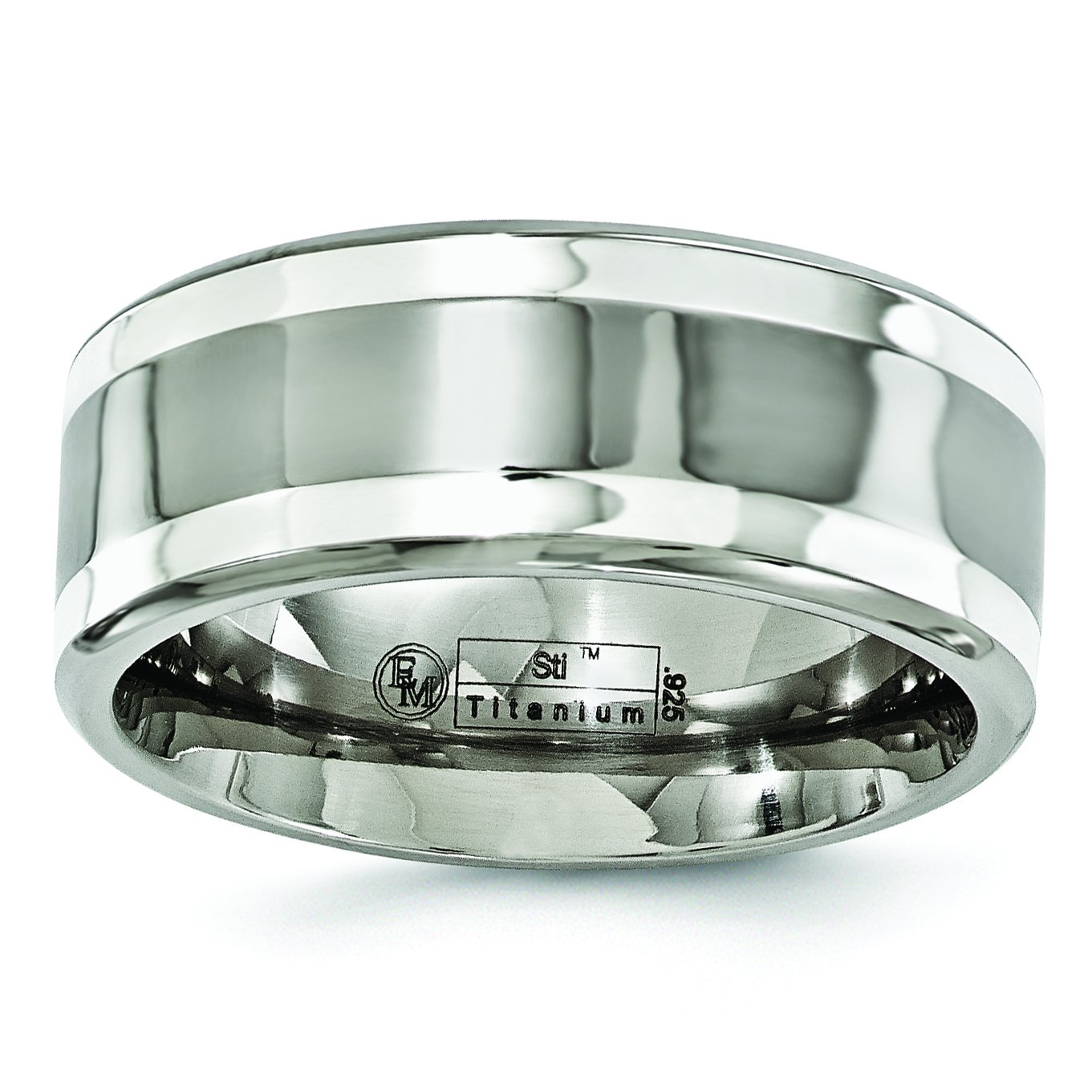 Titanium and Sterling Silver Inlay 9mm Wedding Band Size 8