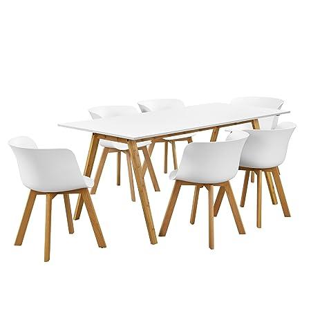 en.casa] Mesa de Comedor con 6 sillas - Set de Comedor Blanco ...