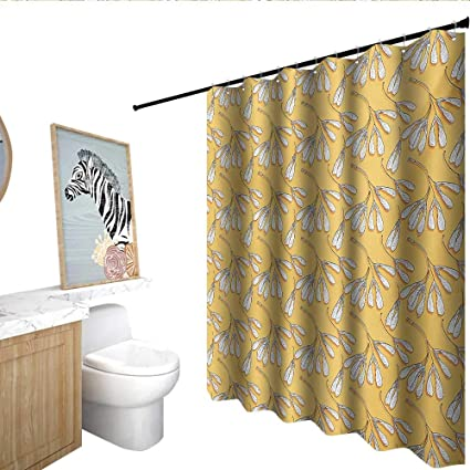 Homecoco Leaves Kids Bathroom Shower Curtain Pattern With Abstract White Maple Seeds Deciduous Foliage Autumn Botany