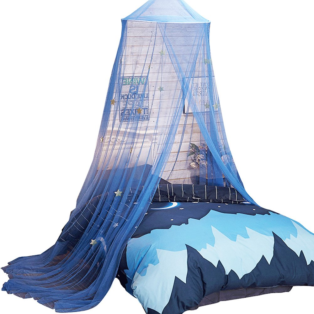 Uarter Boho Princess Mosquito Net, Bed Canopy Girls/Boys Mosquito Net Bed Conical Curtains Kids Play Tent with Stars or Luminous Butterflies for Kids, Installation-Free, Blue/White