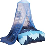 Uarter Boho Princess Mosquito Net, Bed Canopy Girls Mosquito Net Bed Conical Curtains Kids Play Tent with Stars for Kids, Installation-Free, Blue