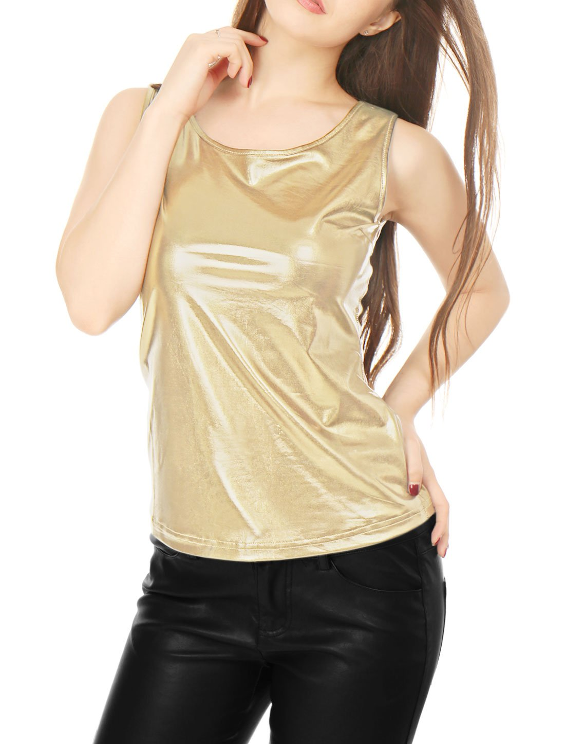 3b2eb3c4cba2c4 Galleon - Allegra K Women s U Neck Stretchy Slim Fit Metallic Tank Top Gold  XL (US 18)