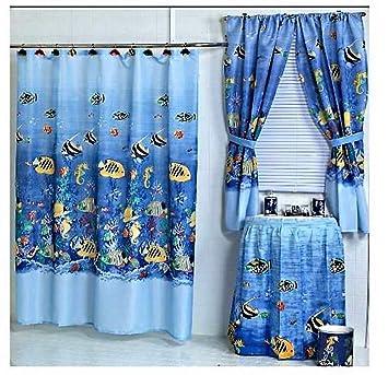 Amazoncom Home Fashions Tropical Fish Shower And Window Curtain