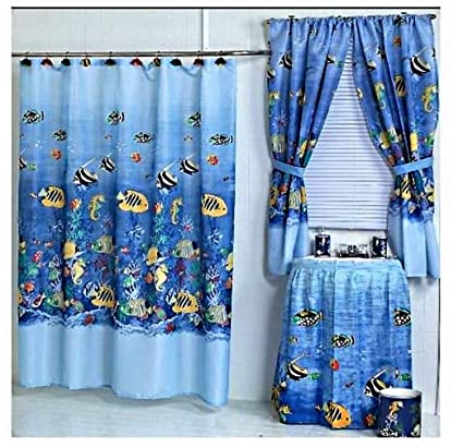 Image Unavailable Not Available For Color Home Fashions Tropical Fish Shower And Window Curtain Set