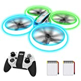Q9s Drones for Kids,RC Drone with Altitude Hold and Headless Mode,Quadcopter with Blue&Green Light,Propeller Full Protect,2 B
