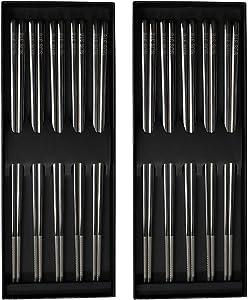 Reusable Chopsticks Stainless Steel Non-slip Japanese Dishwasher Safe 9.8 Inch Chopsticks Set with Gift Case
