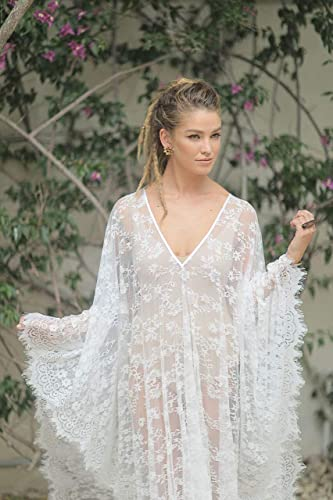Bridal Kaftan Dress Made Of Soft Lace Boho Beach Dress Medium Size Please Check Sizes In My Shop