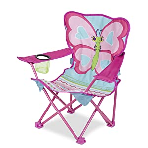 """Melissa & Doug Cutie Pie Butterfly Camp Chair, Easy to Open, Handy Cup Holder, Cleanable Materials, Carrying Bag, 23.7"""" H x 6.7"""" W x 6.7"""" L"""