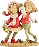 "Department 56 Heart of Christmas ""Boy and Girl Elf Dancing"" Stone Resin Figurine, 3.66"""