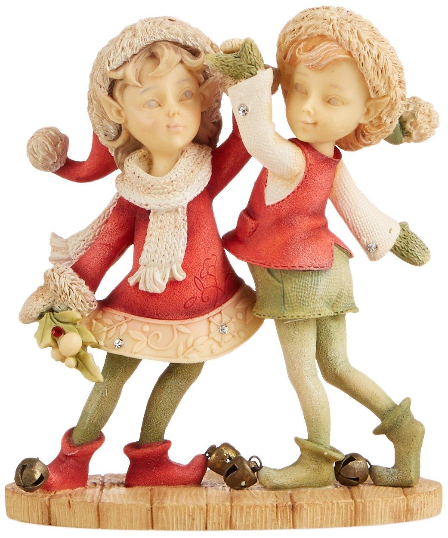 Enesco Heart of Christmas Boy and Girl Elf Dancing Figurine, 3.66-Inch