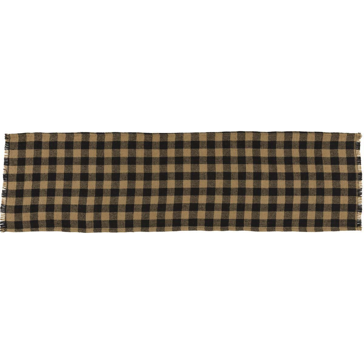 """VHC Brands Classic Country Primitive Tabletop & Kitchen-Burlap Check Black Fringed Runner, 13"""" x 48"""""""