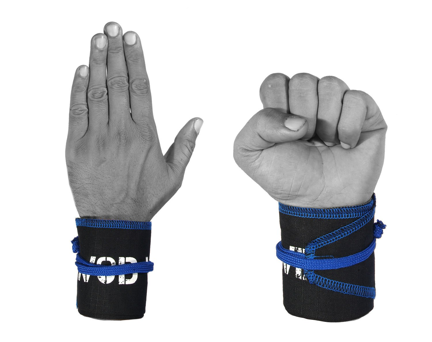 Wrist Wraps for Fitness, Cross Training, Exercise, Bodybuilding, Olympic Weightlifting - Colors for Men and Women - Once Size Fits All - 100% (Black/Blue) by WOD Wear